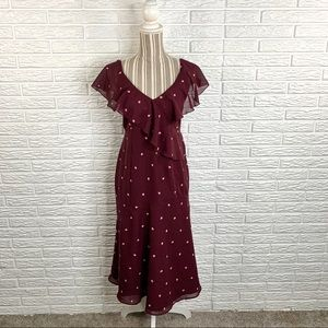 A Pea in the Pod Purple Floral Ruffled Dress